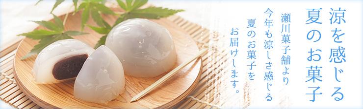 涼を感じる夏のお菓子。瀬川菓子舗より今年も涼しさを感じる夏のお菓子をお届けします。